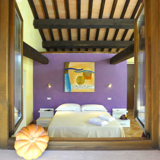 aubergine room in farmhouse near rome